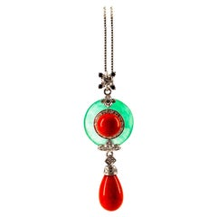 Mediterranean Red Coral 0.42 Carat White Black Diamond Jade White Gold Necklace
