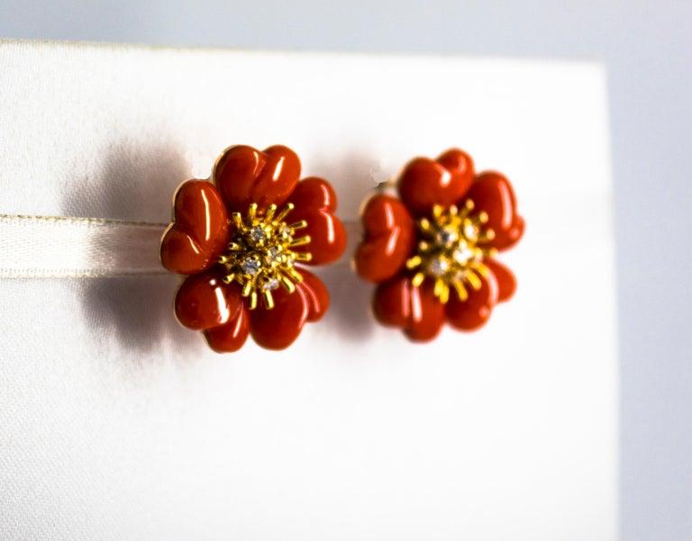 Art Nouveau Mediterranean Red Coral 0.45 Carat White Diamond Yellow Gold