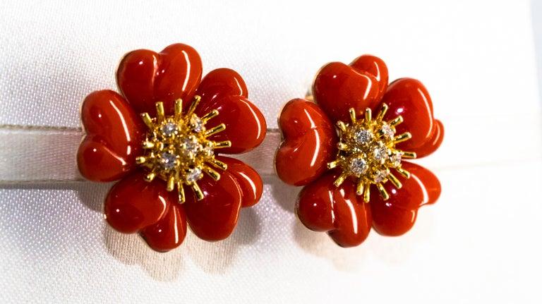 Mediterranean Red Coral 0.45 Carat White Diamond Yellow Gold
