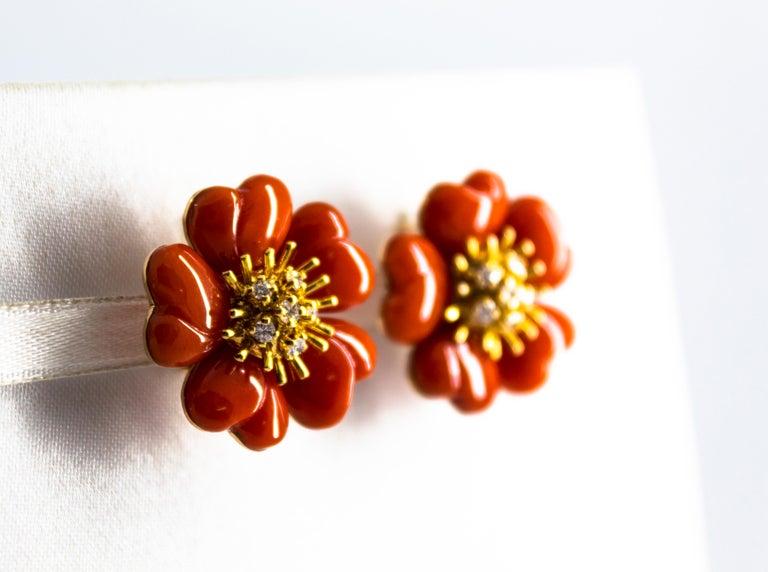 Women's or Men's Mediterranean Red Coral 0.45 Carat White Diamond Yellow Gold