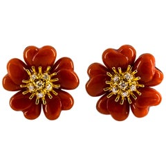 "Mediterranean Red Coral 0.45 Carat White Diamond Yellow Gold ""Flowers"" Earrings"