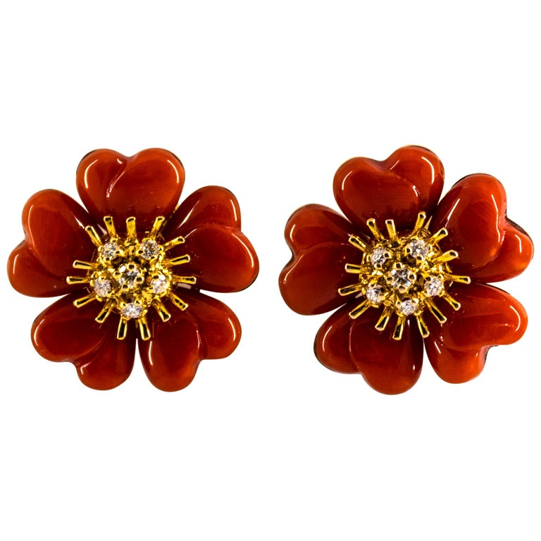"""Mediterranean Red Coral 0.45 Carat White Diamond Yellow Gold """"Flowers"""" Earrings For Sale"""