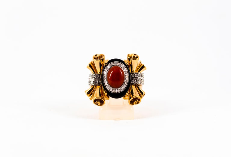 Mediterranean Red Coral 0.47 Carat White Diamond Onyx Yellow Gold Cocktail Ring For Sale 6