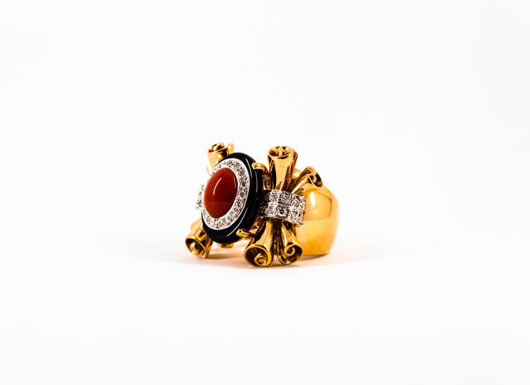 Mediterranean Red Coral 0.47 Carat White Diamond Onyx Yellow Gold Cocktail Ring For Sale 7
