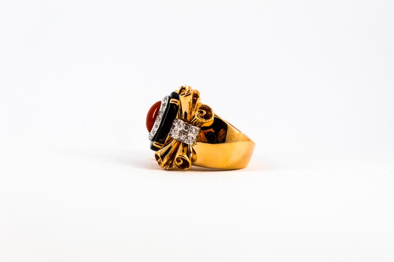 Mediterranean Red Coral 0.47 Carat White Diamond Onyx Yellow Gold Cocktail Ring For Sale 8