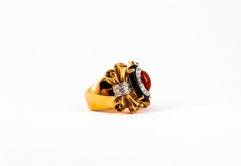 Mediterranean Red Coral 0.47 Carat White Diamond Onyx Yellow Gold Cocktail Ring For Sale 10