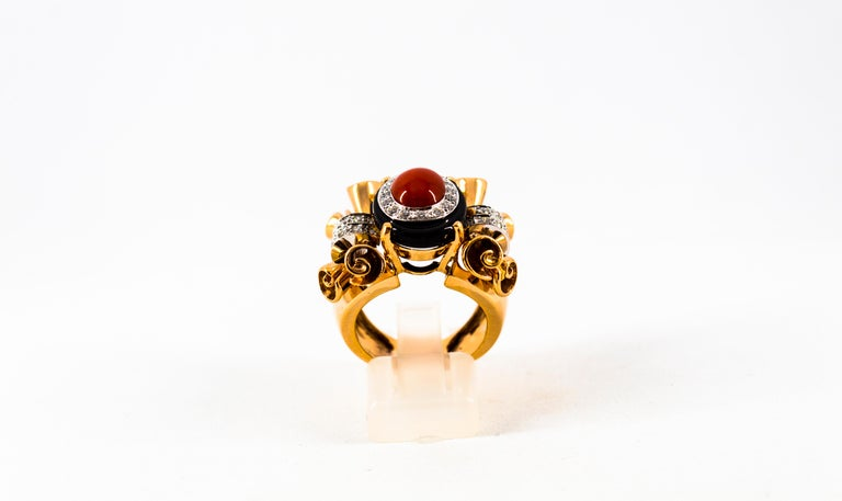 Art Deco Mediterranean Red Coral 0.47 Carat White Diamond Onyx Yellow Gold Cocktail Ring For Sale