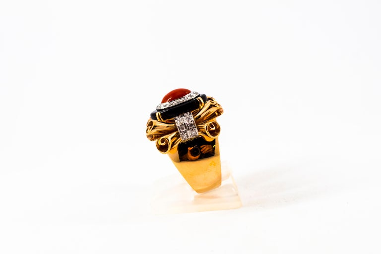 Women's or Men's Mediterranean Red Coral 0.47 Carat White Diamond Onyx Yellow Gold Cocktail Ring For Sale
