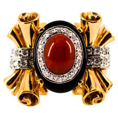 Mediterranean Red Coral 0.47 Carat White Diamond Onyx Yellow Gold Cocktail Ring