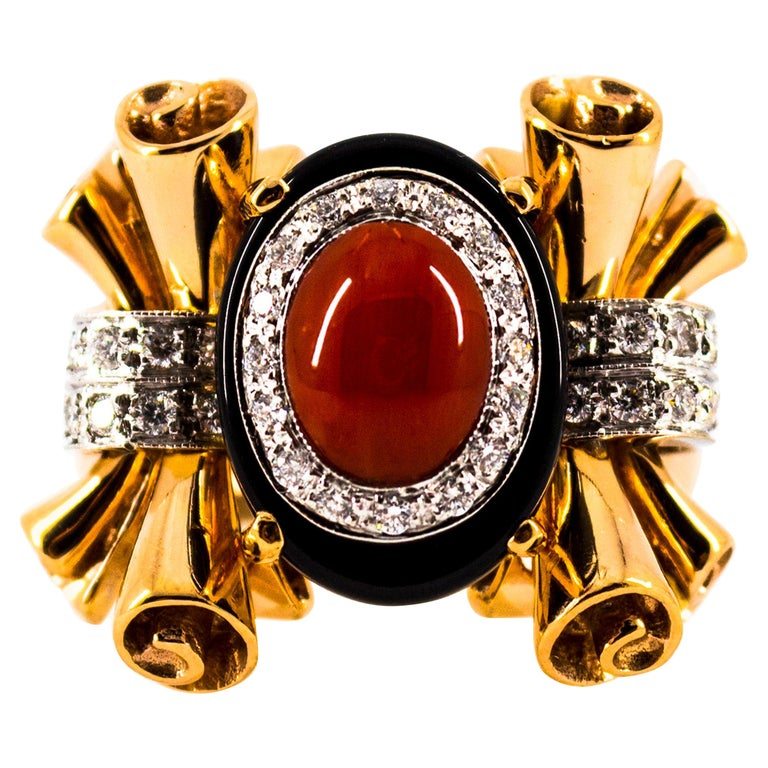 Mediterranean Red Coral 0.47 Carat White Diamond Onyx Yellow Gold Cocktail Ring For Sale