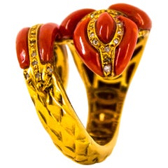 Mediterranean Red Coral 0.50 Carat White Diamond Yellow Gold Snake Ring