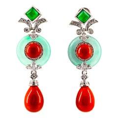 Mediterranean Red Coral 0.60 Carat White Diamond Jade White Gold Drop Earrings