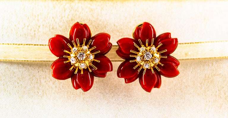 These Earrings are made of 14K Yellow Gold. These Earrings have 0.60 Carats of White Diamonds. These Earrings have Mediterranean (Sardinia, Italy) Red Coral. These Earrings are available also in White Coral, Pink Coral, Turquoise or Lapis