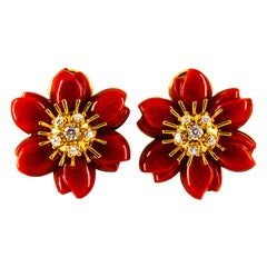 "Mediterranean Red Coral 0.60 Carat White Diamond Yellow Gold ""Flowers"" Earrings"