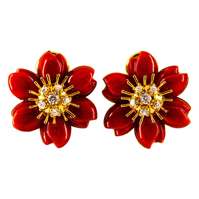 "Mediterranean Red Coral 0.60 Carat White Diamond Yellow Gold ""Flowers"" Earrings For Sale"