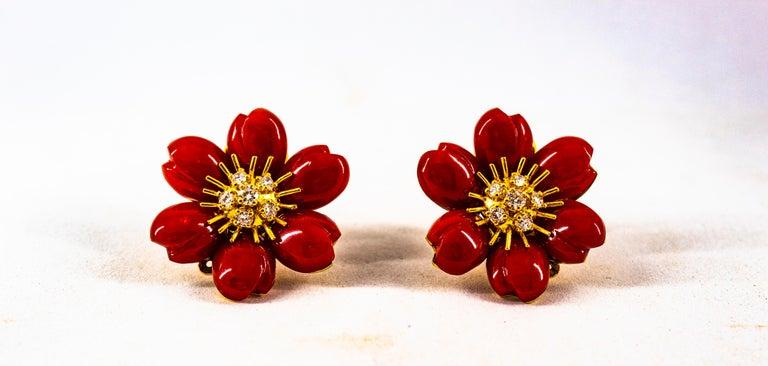 Mediterranean Red Coral 0.65 Carat White Diamond Yellow Gold