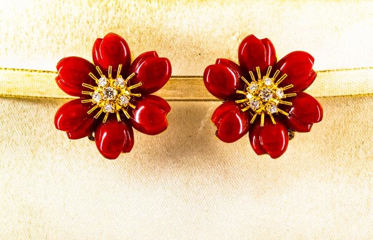 Art Nouveau Mediterranean Red Coral 0.65 Carat White Diamond Yellow Gold
