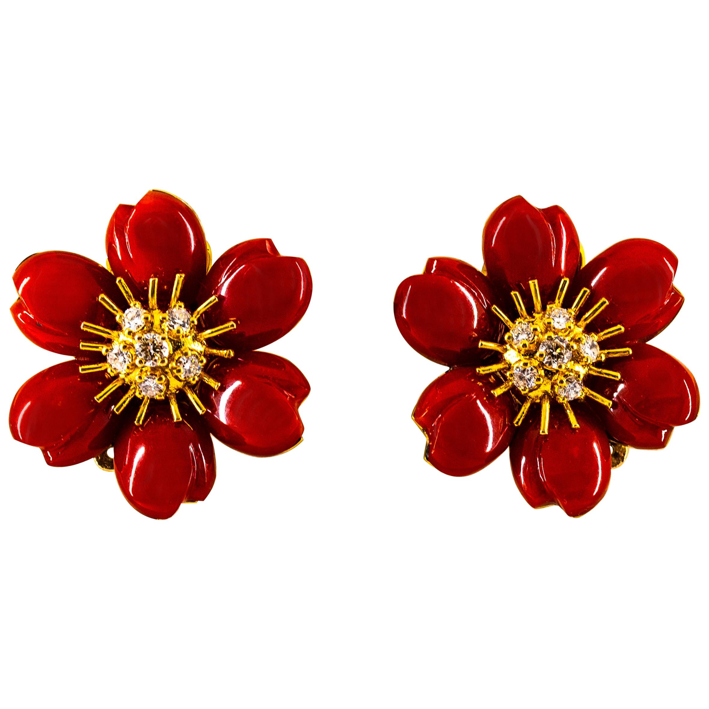 """Mediterranean Red Coral 0.65 Carat White Diamond Yellow Gold """"Flowers"""" Earrings"""