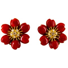 "Mediterranean Red Coral 0.65 Carat White Diamond Yellow Gold ""Flowers"" Earrings"