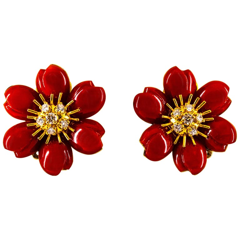 """Mediterranean Red Coral 0.65 Carat White Diamond Yellow Gold """"Flowers"""" Earrings For Sale"""