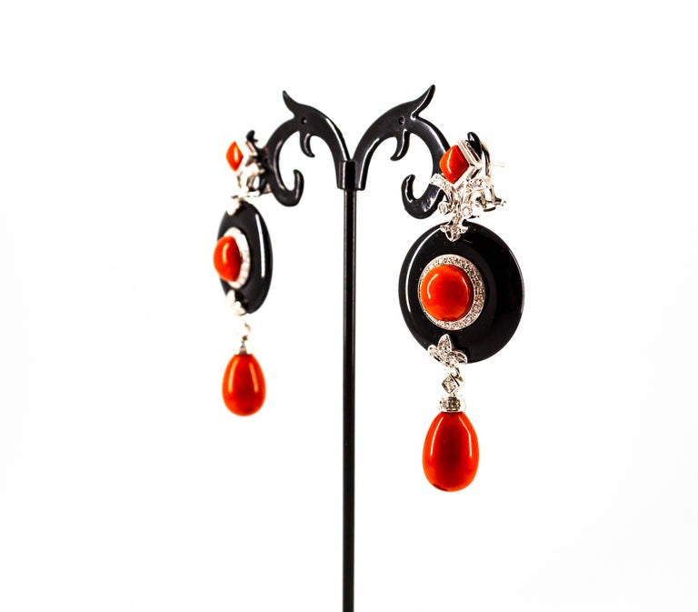 Mediterranean Red Coral 0.70 Carat White Diamond Onyx White Gold Drop Earrings For Sale 5