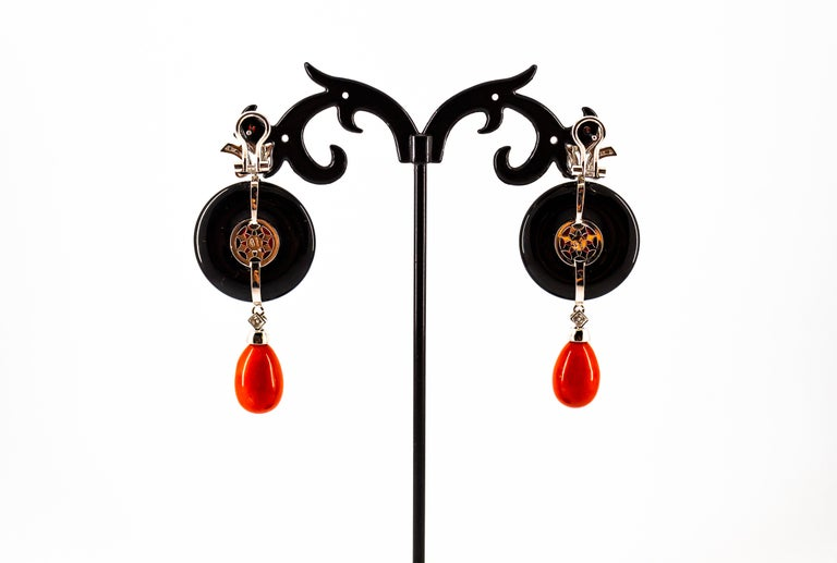 Mediterranean Red Coral 0.70 Carat White Diamond Onyx White Gold Drop Earrings For Sale 6