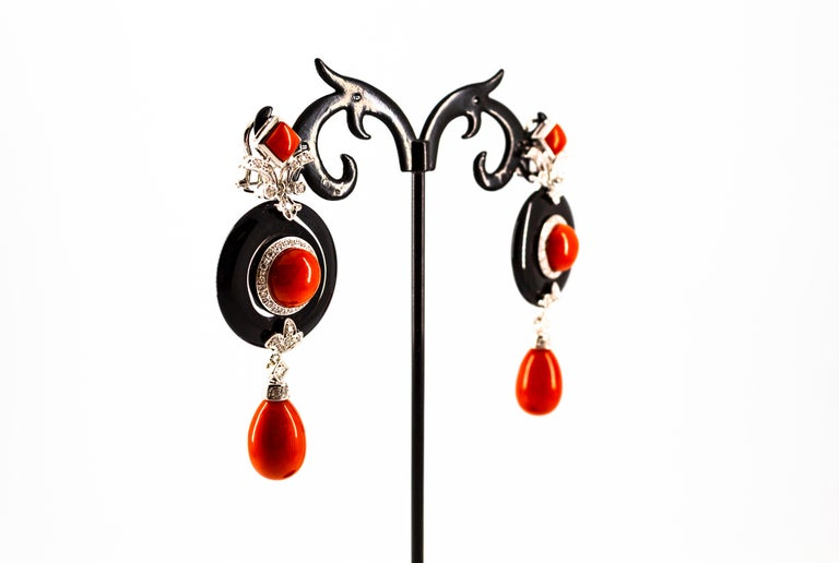 Mediterranean Red Coral 0.70 Carat White Diamond Onyx White Gold Drop Earrings For Sale 8