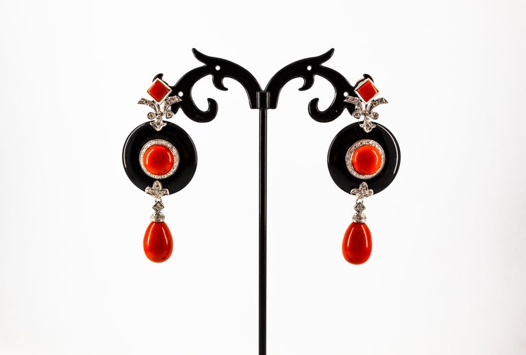 Mediterranean Red Coral 0.70 Carat White Diamond Onyx White Gold Drop Earrings For Sale 2