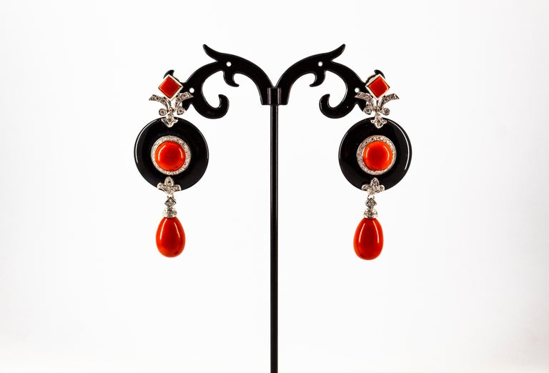 Mediterranean Red Coral 0.70 Carat White Diamond Onyx White Gold Drop Earrings For Sale 3