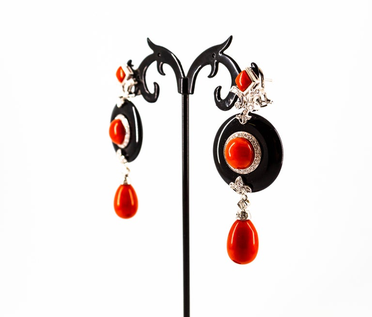 Mediterranean Red Coral 0.70 Carat White Diamond Onyx White Gold Drop Earrings For Sale 4