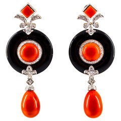 Mediterranean Red Coral 0.70 Carat White Diamond Onyx White Gold Drop Earrings