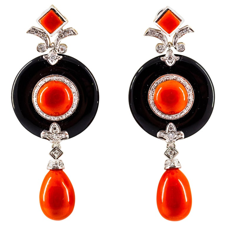 Mediterranean Red Coral 0.70 Carat White Diamond Onyx White Gold Drop Earrings For Sale