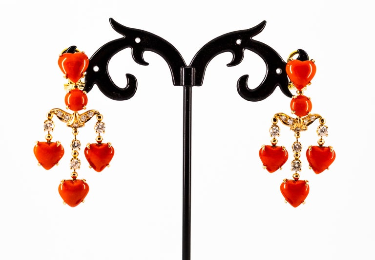 Mediterranean Red Coral 0.90 Carat White Diamond Yellow Gold Clip-On Earrings For Sale 5
