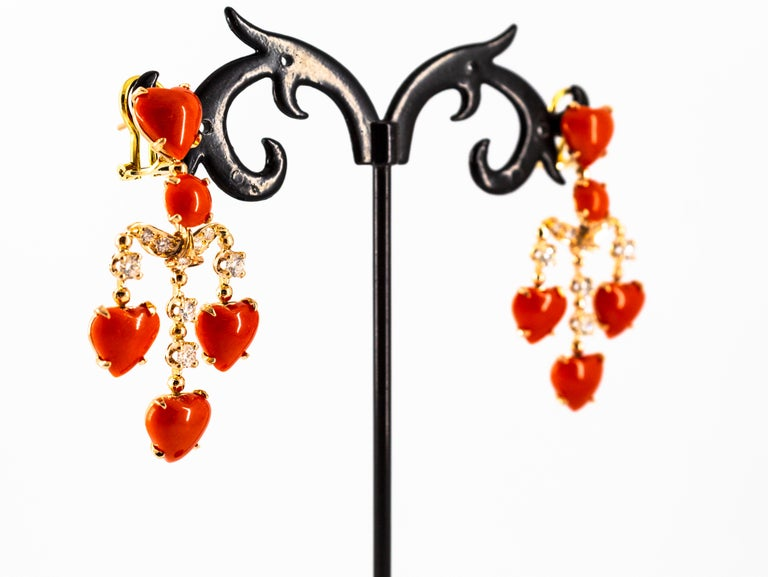 Mediterranean Red Coral 0.90 Carat White Diamond Yellow Gold Clip-On Earrings For Sale 6