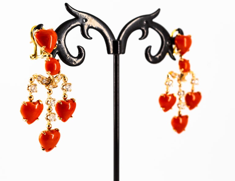 Mediterranean Red Coral 0.90 Carat White Diamond Yellow Gold Clip-On Earrings For Sale 7