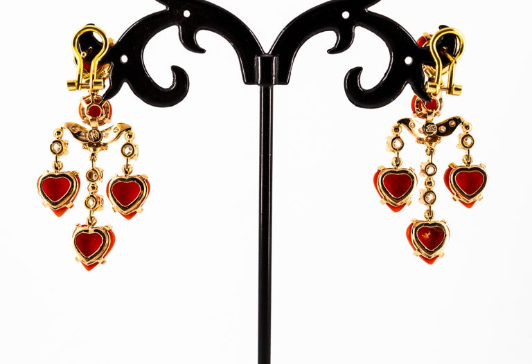 Mediterranean Red Coral 0.90 Carat White Diamond Yellow Gold Clip-On Earrings For Sale 8