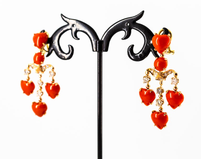 Mediterranean Red Coral 0.90 Carat White Diamond Yellow Gold Clip-On Earrings For Sale 9