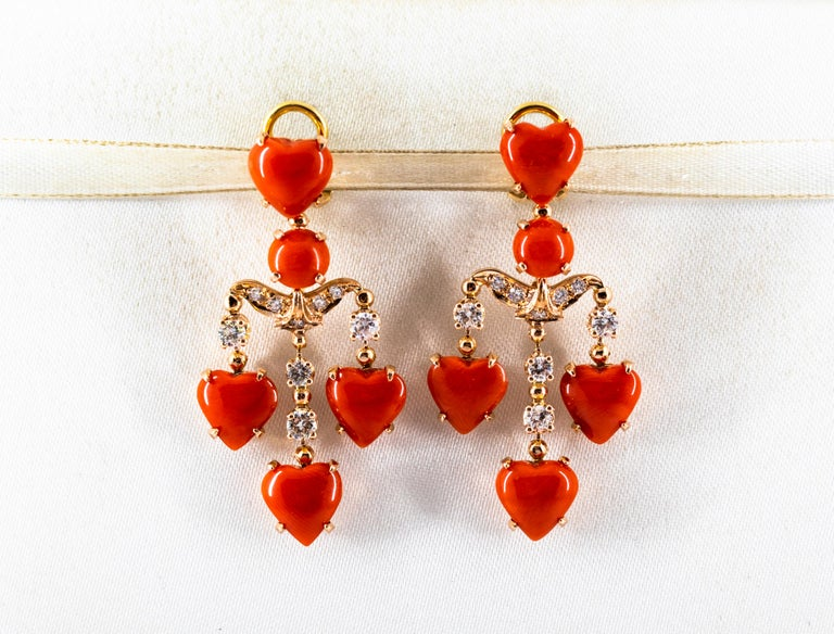 Renaissance Mediterranean Red Coral 0.90 Carat White Diamond Yellow Gold Clip-On Earrings For Sale