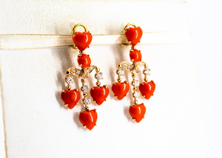 Mediterranean Red Coral 0.90 Carat White Diamond Yellow Gold Clip-On Earrings For Sale 1