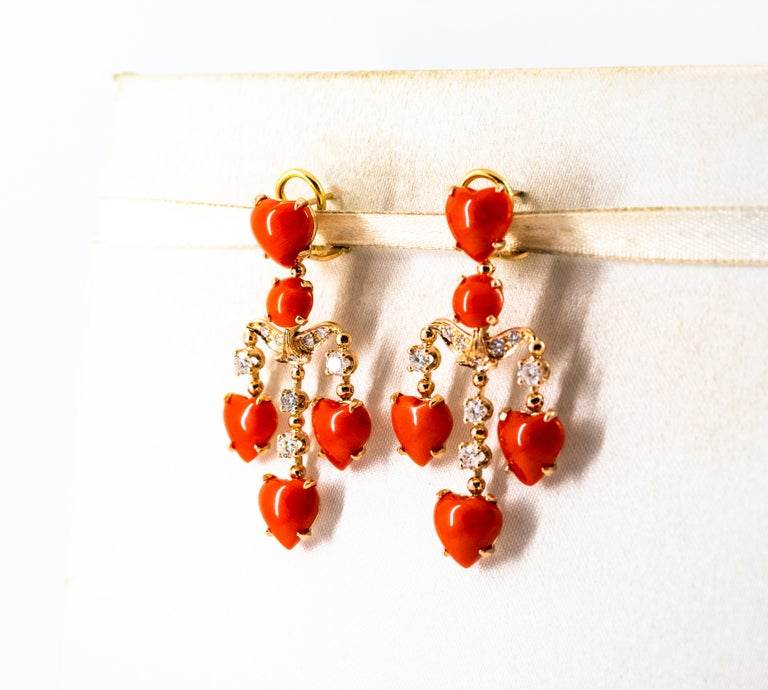 Mediterranean Red Coral 0.90 Carat White Diamond Yellow Gold Clip-On Earrings For Sale 2