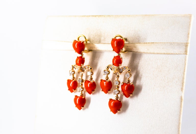 Mediterranean Red Coral 0.90 Carat White Diamond Yellow Gold Clip-On Earrings For Sale 3