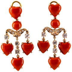 Mediterranean Red Coral 0.90 Carat White Diamond Yellow Gold Clip-On Earrings