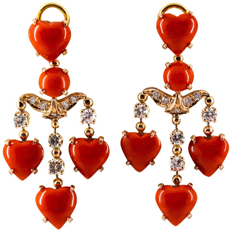 Mediterranean Red Coral 0.90 Carat White Diamond Yellow Gold Clip-On Earrings For Sale
