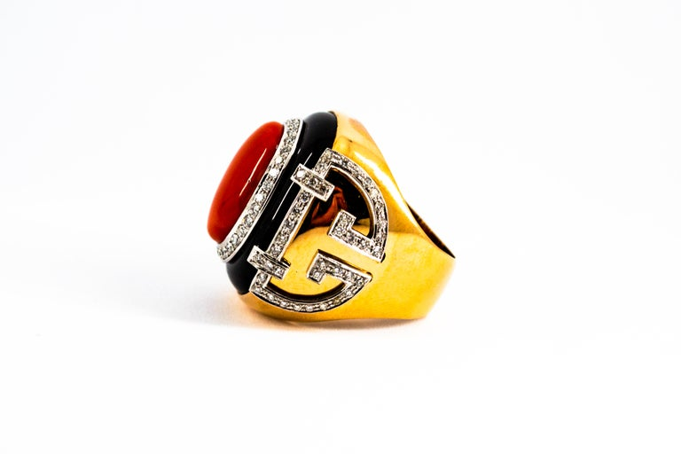 Mediterranean Red Coral 1.00 Carat White Diamond Onyx Yellow Gold Cocktail Ring For Sale 7