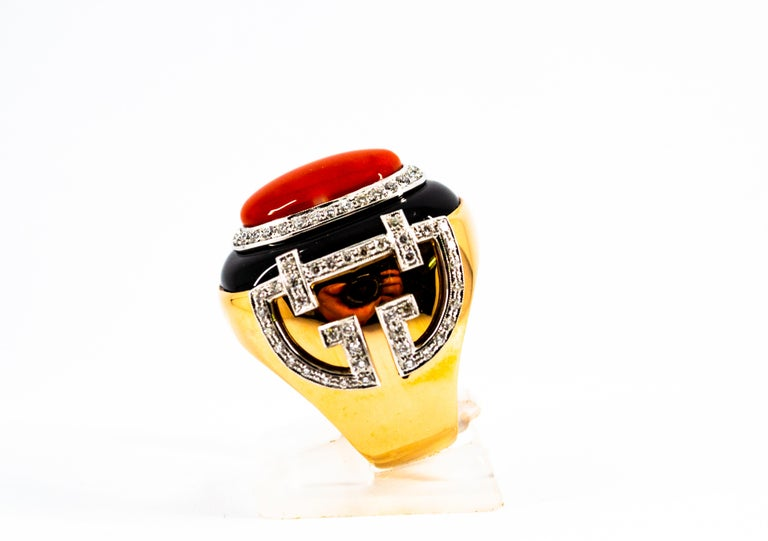 Women's or Men's Mediterranean Red Coral 1.00 Carat White Diamond Onyx Yellow Gold Cocktail Ring For Sale