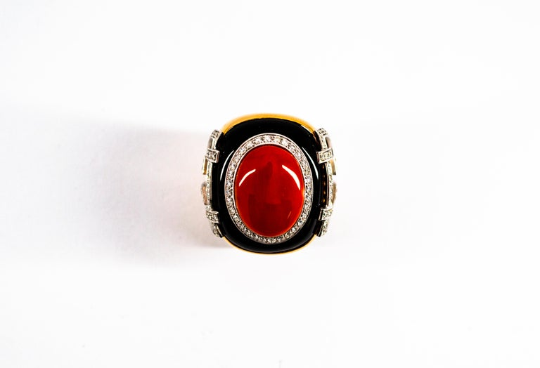 Mediterranean Red Coral 1.00 Carat White Diamond Onyx Yellow Gold Cocktail Ring For Sale 1
