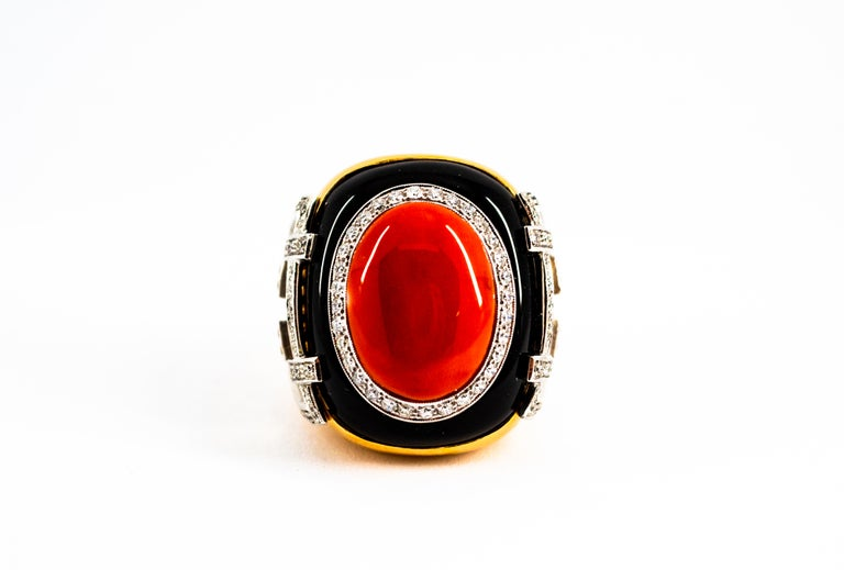 Mediterranean Red Coral 1.00 Carat White Diamond Onyx Yellow Gold Cocktail Ring For Sale 2