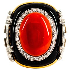 Mediterranean Red Coral 1.00 Carat White Diamond Onyx Yellow Gold Cocktail Ring