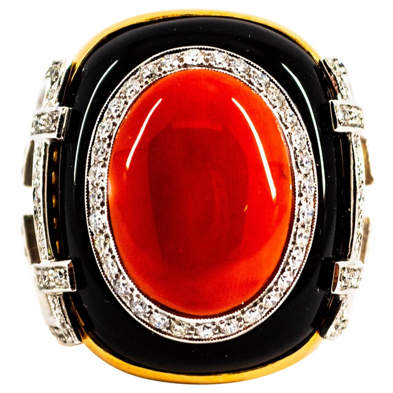 Mediterranean Red Coral 1.00 Carat White Diamond Onyx Yellow Gold Cocktail Ring For Sale