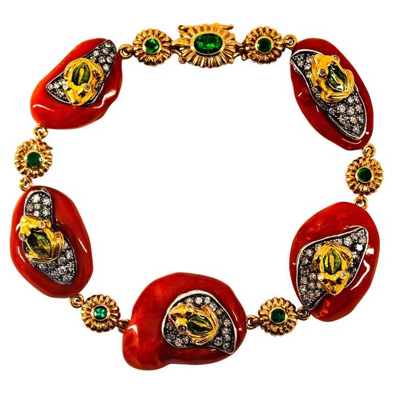 Mediterranean Red Coral 2.10 Carat White Diamond Emerald Yellow Gold Bracelet For Sale
